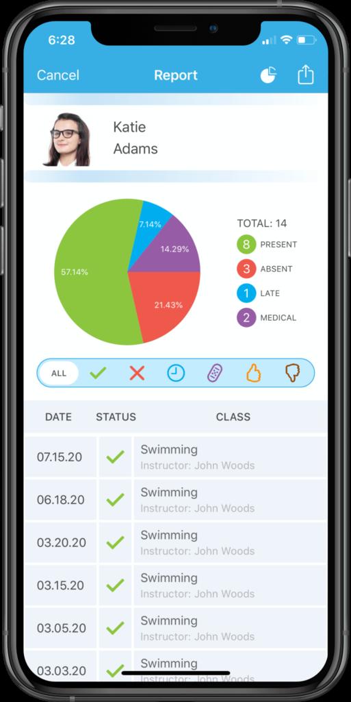 App screenshot featuring a student's attendance report.